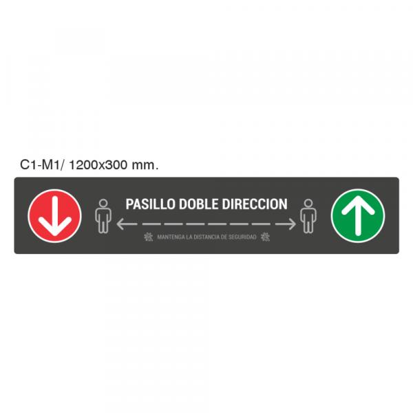 Cartel colgante pasillo doble dirección 1200x300 Femonsa.Shop