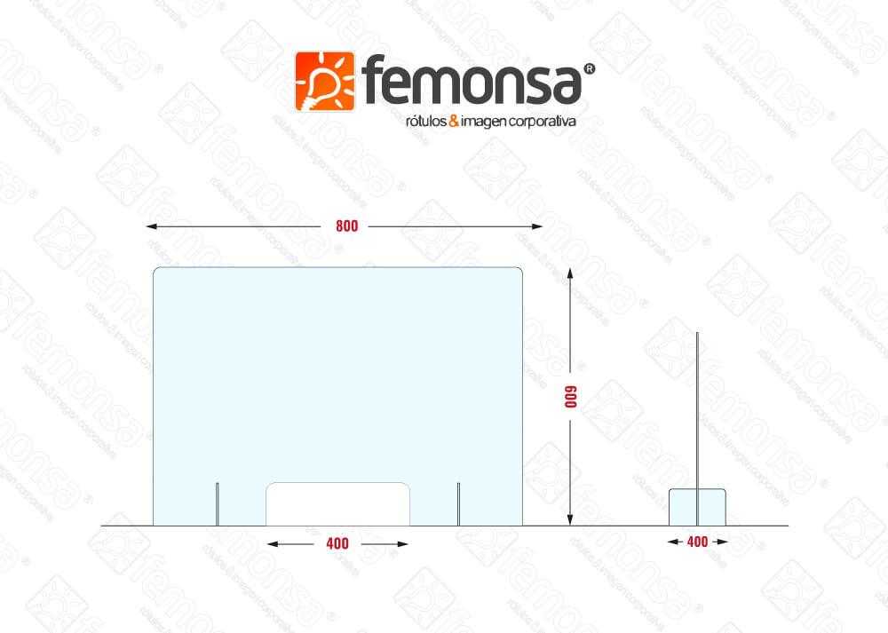 Mampara protectora mostrador xpress 80x60 Femonsa.Shop