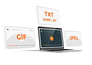 Subida de imágenes, video, animaciones, texto, reloj temperatura.