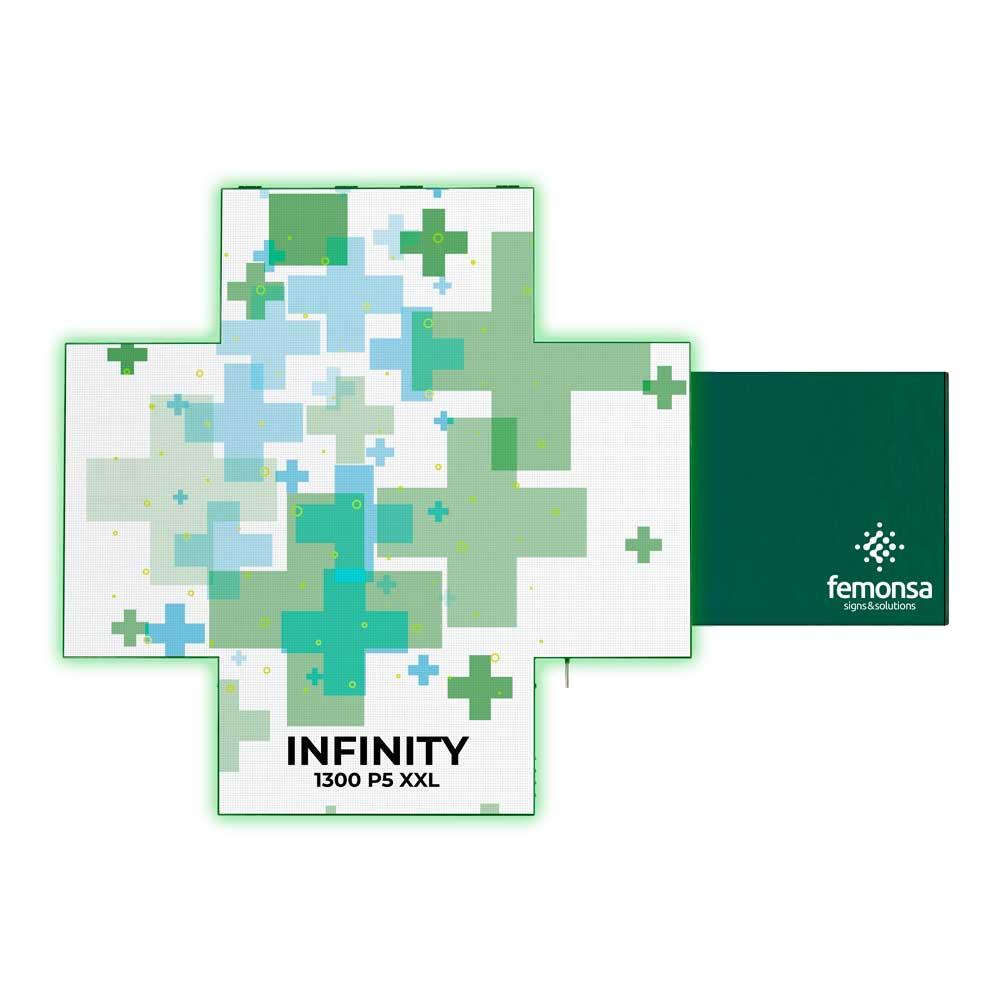 Cruz LED de Farmacia Serie INFINITY. 130 x 130 cm P5
