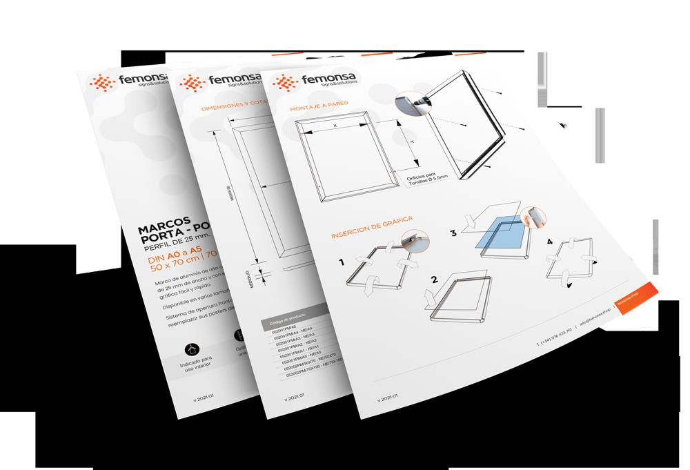 Decarga la ficha tecnica de los marcos portaposters
